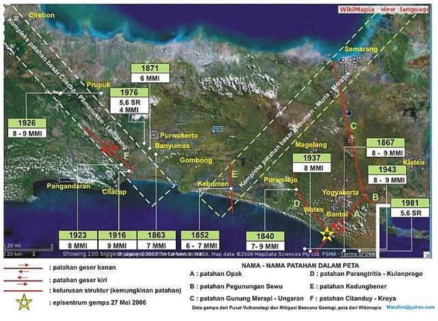 sesar gempa merusak di Jawa